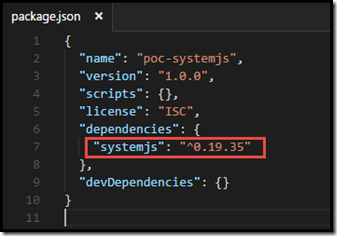 package.json with systemJS