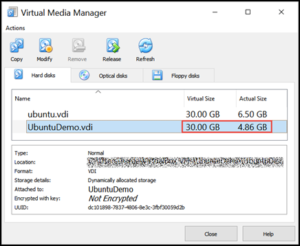 VirtualBox Virtual Media Manager