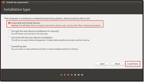 Ubuntu setup and Install - Installation Type