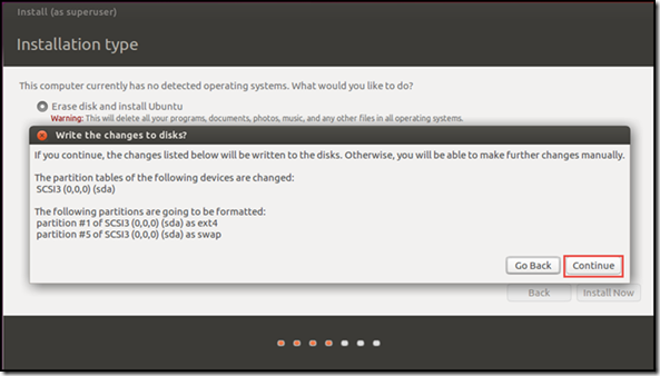 Ubuntu setup and Install - Installation Type confirmation