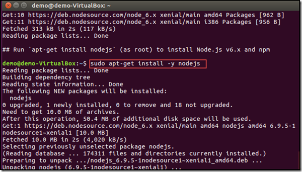 install nodejs using sudo and apt-get on Ubuntu